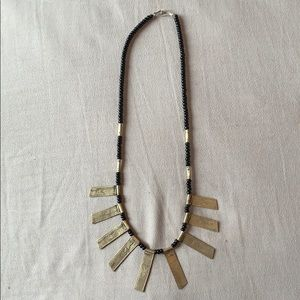 Black sterling silver bead necklace